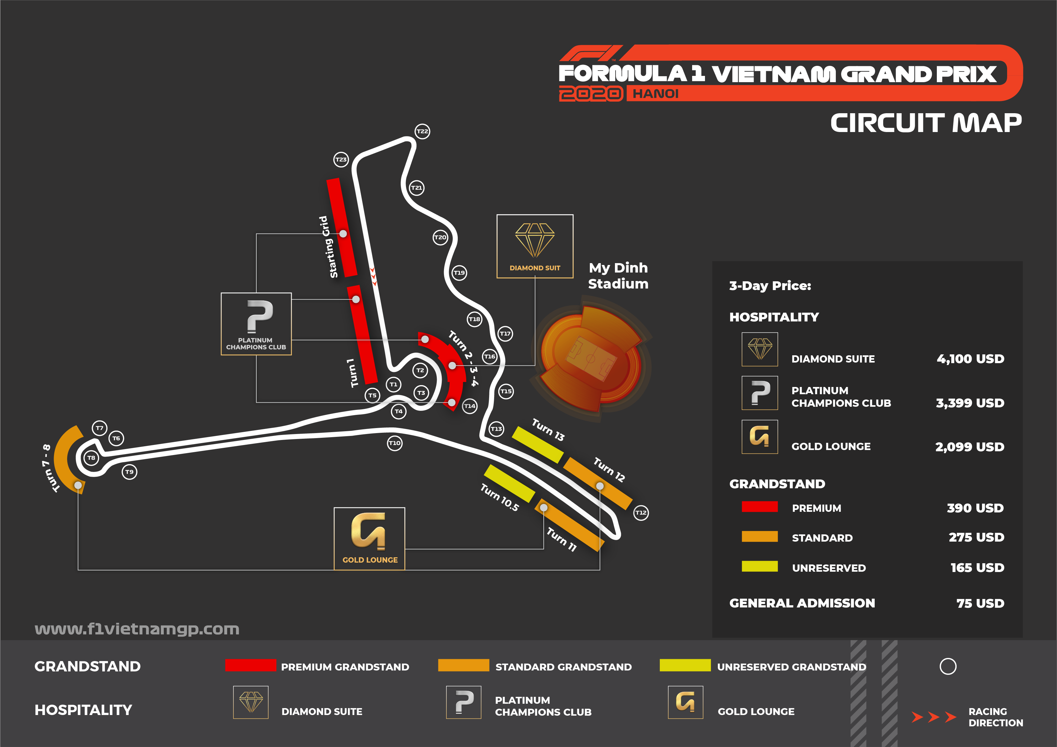 F1 Circuit Map, Vietnam Grand Prix Ticket