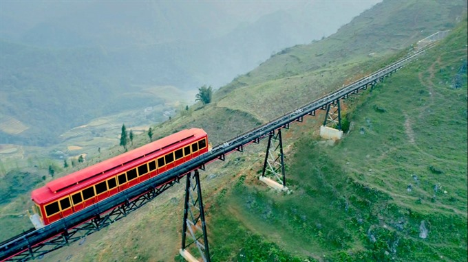 Travel from Sapa town to Faxipan station by train through Muong Hoa valley